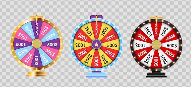 Ruota della fortuna, insieme della raccolta dell'icona fortunata. illustrazione Vettore Premium