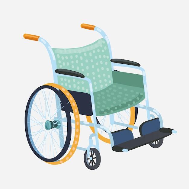 Sedia a rotelle. sedia da trasporto classica per disabili, malati o feriti, attrezzature mediche. illustrazione Vettore Premium