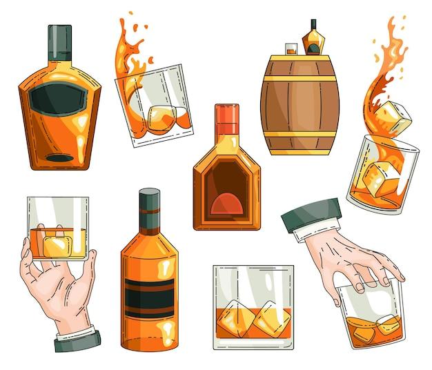 Set di simboli di whisky. bottiglia di vetro, mano dell'uomo che tiene un bicchiere di scotch con cubetti di ghiaccio, collezione di icone di barile di alcol in legno. Vettore Premium