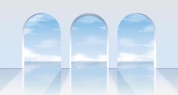 Archi bianchi con vista sull'azzurro del cielo. Vettore Premium
