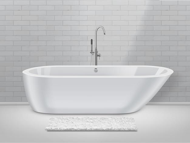 Bagno bianco in stile moderno con tappeto sul pavimento e vasca da bagno sul fondo del muro di mattoni. Vettore Premium