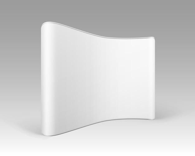 Stand pop-up di mostra commerciale in bianco bianco per la presentazione su sfondo bianco Vettore Premium