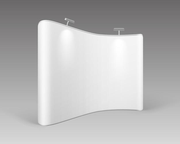 Stand pop-up di mostra commerciale in bianco bianco per la presentazione con retroilluminazione su priorità bassa bianca Vettore Premium