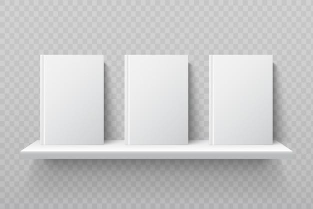 Libri bianchi sullo scaffale. manuali vuoti della scuola nel modello interno di vettore dell'ufficio moderno Vettore Premium