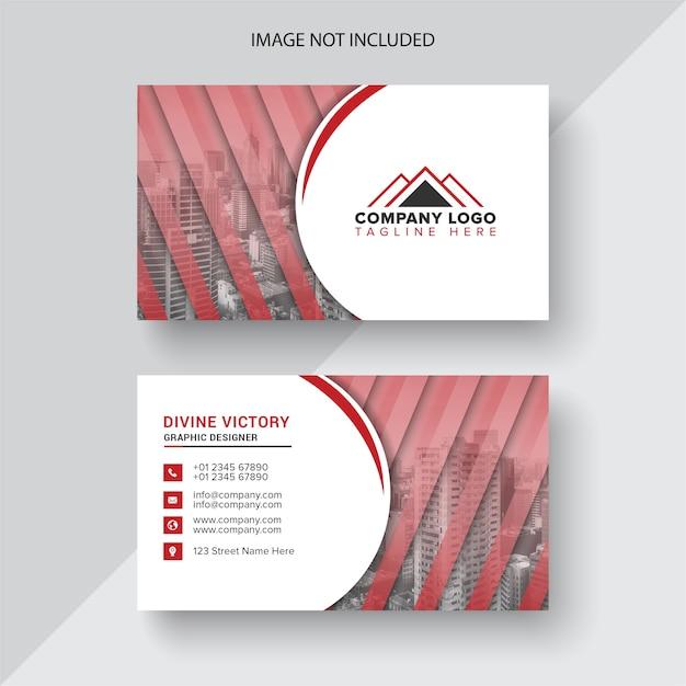 Biglietto da visita bianco con dettagli rossi Vettore Premium