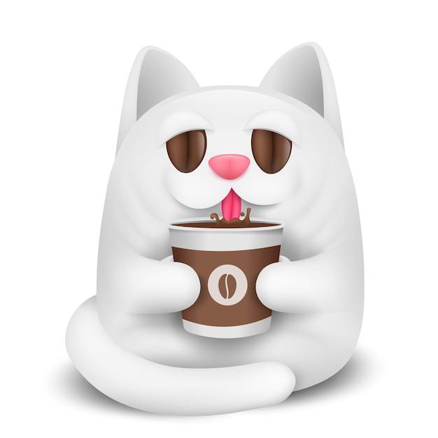 Personaggio dei cartoni animati del gatto bianco che beve caffè. Vettore Premium