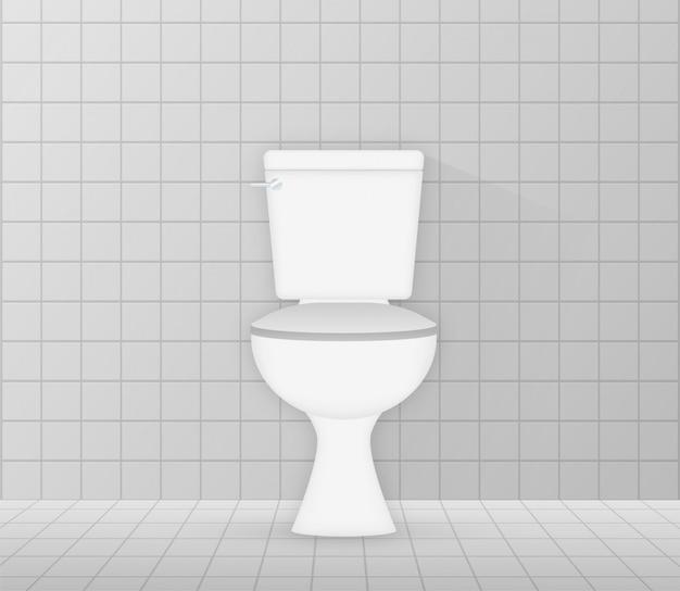 Icona di ciotola di servizi igienici in ceramica bianca. stanza da bagno. illustrazione di riserva. Vettore Premium