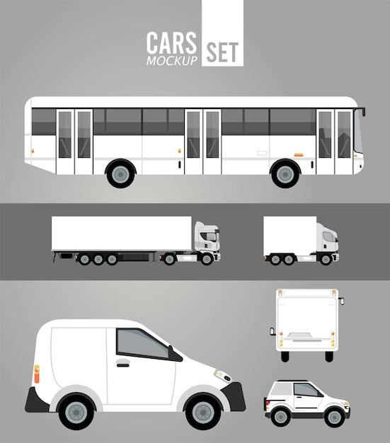 Veicoli per auto di gruppo mockup di colore bianco Vettore Premium