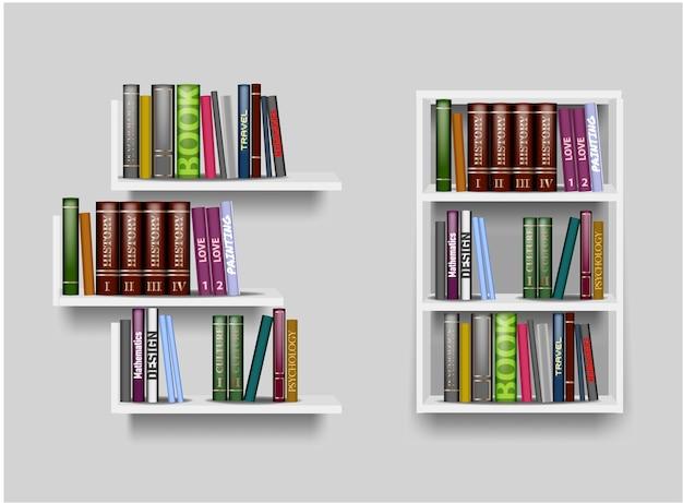 Scaffali di colore bianco e illustrazione di libreria con libri diversi. mensola per uno sfondo bianco, espositore per accessori, espositore per negozi Vettore Premium