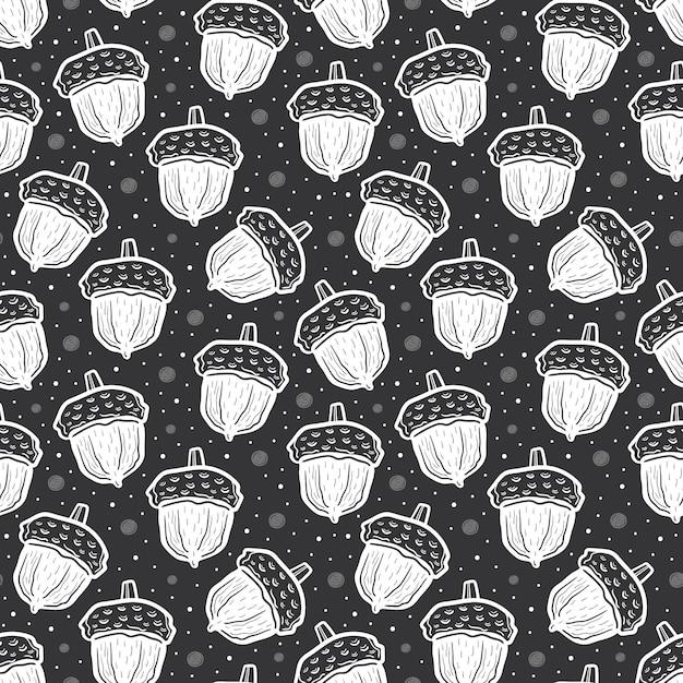 Ghiande di colore bianco. seamless pattern Vettore Premium