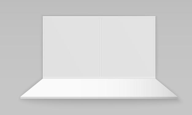 Stand espositivo promozionale 3d vuoto bianco Vettore Premium