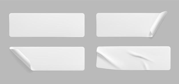 Adesivi sgualciti incollati bianchi con set di modelli di angoli arricciati Vettore Premium