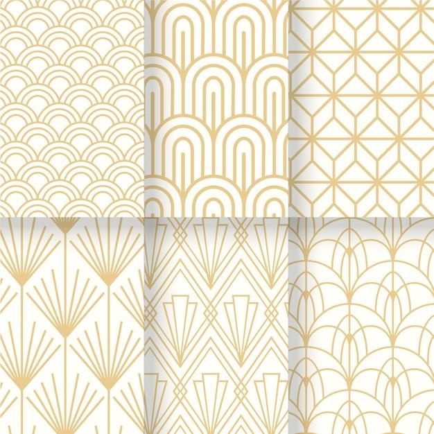 Collezione bianco e oro del modello senza cuciture art deco Vettore Premium