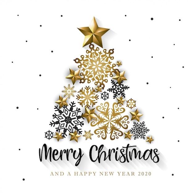 Cartoline Buon Natale E Felice Anno Nuovo.Cartolina D Auguri Bianca E Dorata Di Buon Natale E Felice Anno Nuovo 2020 Vettore Premium