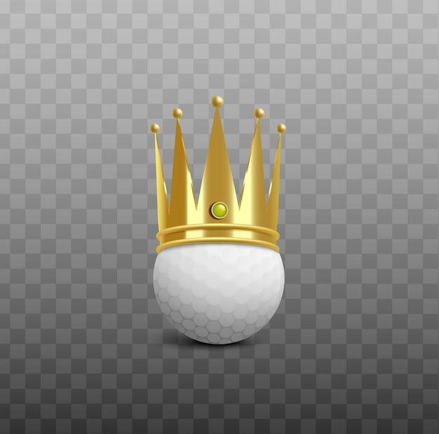 Pallina da golf bianca che indossa la corona dorata splendente del re - illustrazione realistica su sfondo trasparente. elemento premio vittoria campione di golf. Vettore Premium