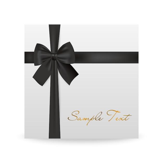 Biglietto di auguri bianco con fiocco nero isolato su bianco Vettore Premium