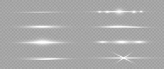 Confezione di razzi bianchi orizzontali. raggi laser, raggi di luce orizzontali. razzi luminosi. striature luminose su sfondo chiaro. priorità bassa allineata scintillante astratta luminosa. Vettore Premium