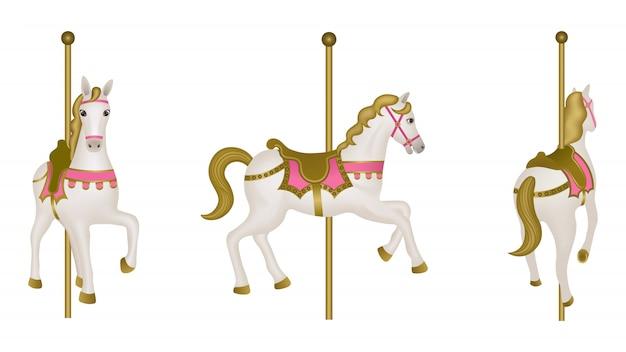 Cavallo bianco carosello isolato. vista laterale, anteriore e posteriore Vettore Premium
