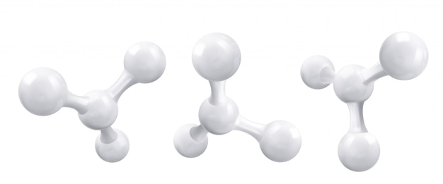 Molecola o atomo bianca, struttura pulita astratta. Vettore Premium