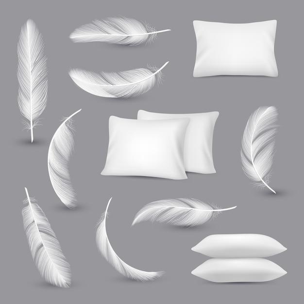 Cuscini bianchi. le piume del vento per i cuscini di rettangolo della camera da letto vector le immagini realistiche isolate Vettore Premium