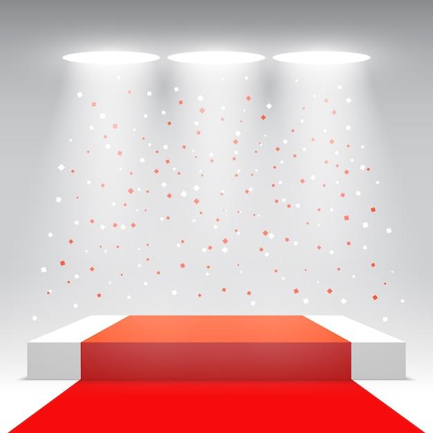 Podio bianco con tappeto rosso e coriandoli. palco per la cerimonia di premiazione. piedistallo. illustrazione. Vettore Premium