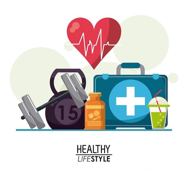 Elementi di poster bianco con bolle e ritmo del battito cardiaco Vettore Premium