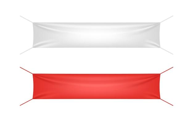 Banner in tessuto bianco e rosso con set di modelli di pieghe Vettore Premium
