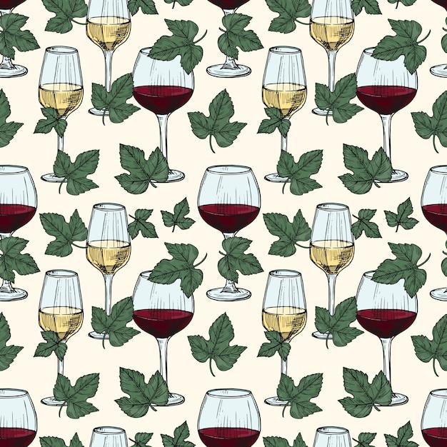 Vino bianco e rosso, foglie di vite senza cuciture Vettore Premium