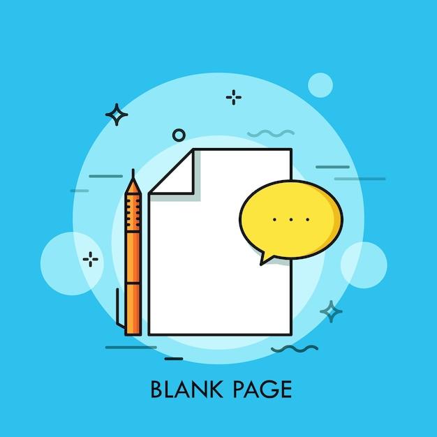 Foglio bianco, penna e fumetto. pagina vuota, documento vuoto, carta pulita, modulo da compilare. Vettore Premium