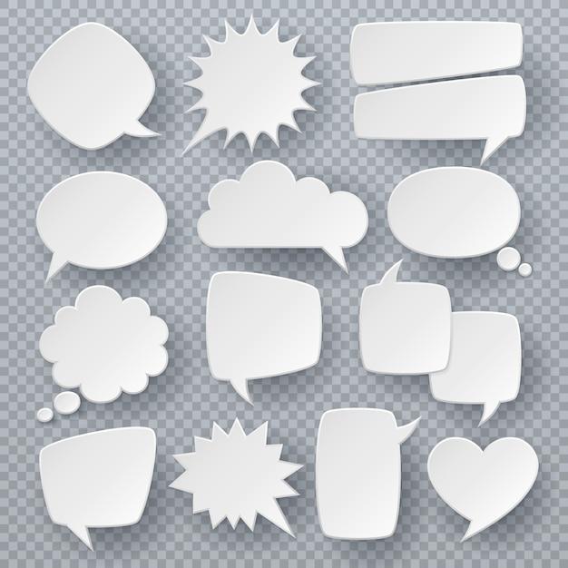 Fumetti bianchi. simboli di bolle di testo di pensiero, forme di discorso frizzante origami. insieme di vettore di retro nuvole di dialogo comico Vettore Premium