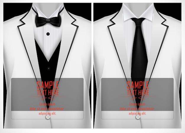 Tuta bianca e smoking con papillon nero Vettore Premium
