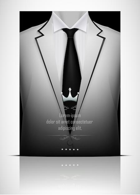 Abito bianco e smoking con cravatta nera Vettore Premium