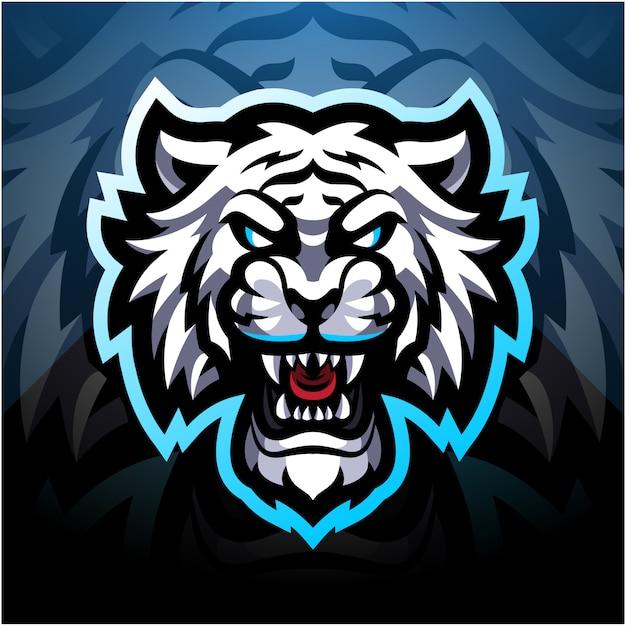 Logo della mascotte esport tigre bianca Vettore Premium