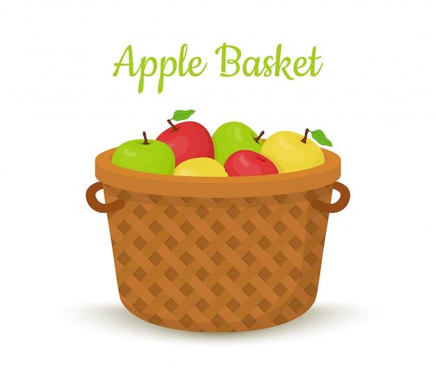Cesto di vimini con mele. frutti luminosi Vettore Premium