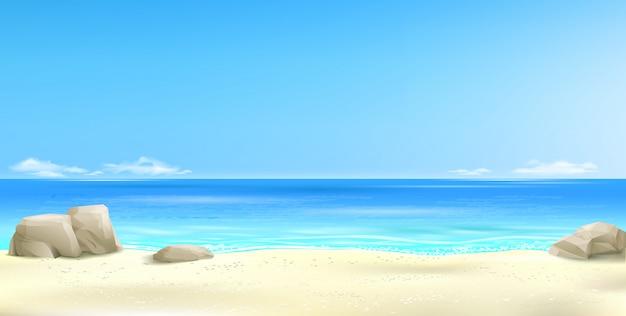 Ampio sfondo spiaggia tropicale Vettore Premium