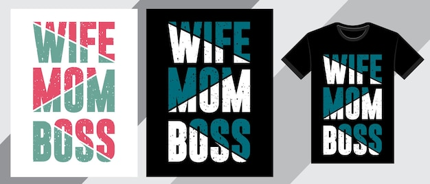 Moglie mamma capo tipografia t-shirt design Vettore Premium