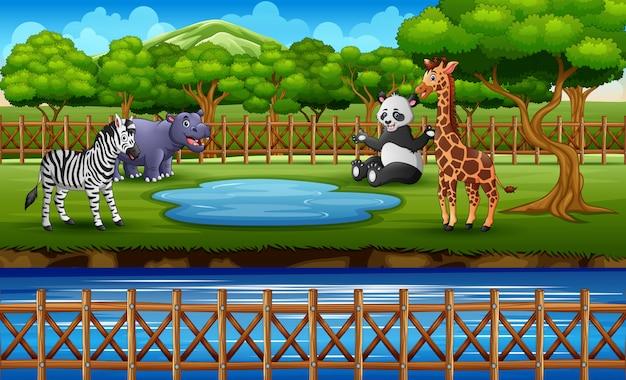 Gli animali selvatici nello zoo parcheggiano la gabbia all'aperto sulla natura Vettore Premium