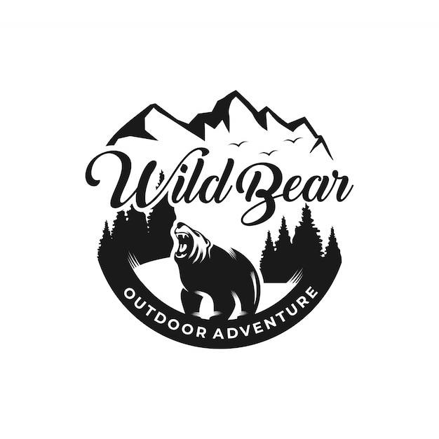 Wild bear logo avventura all'aria aperta Vettore Premium