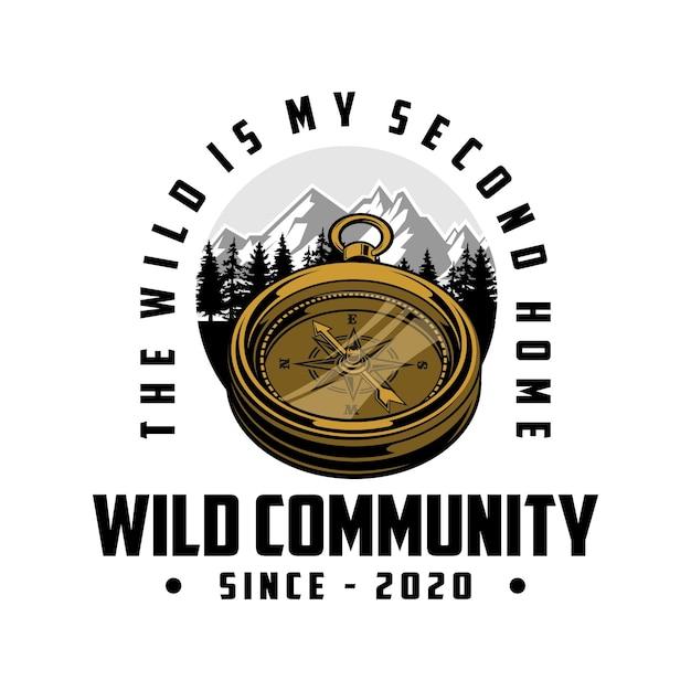 Logo della comunità selvaggia Vettore Premium