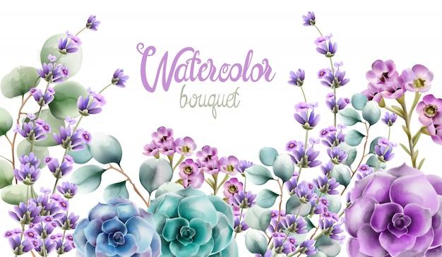 Mazzo dei fiori dell'acquerello della natura selvaggia Vettore Premium