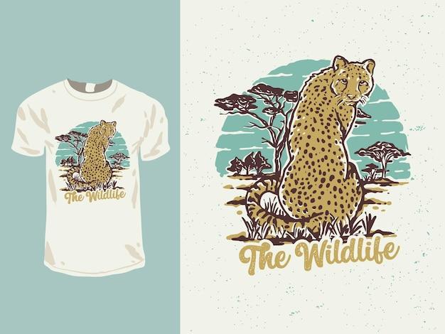Il design della maglietta del ghepardo della fauna selvatica Vettore Premium