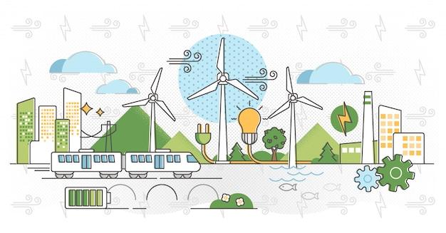 Illustrazione di energia eolica. potere alternativo verde in contorni Vettore Premium