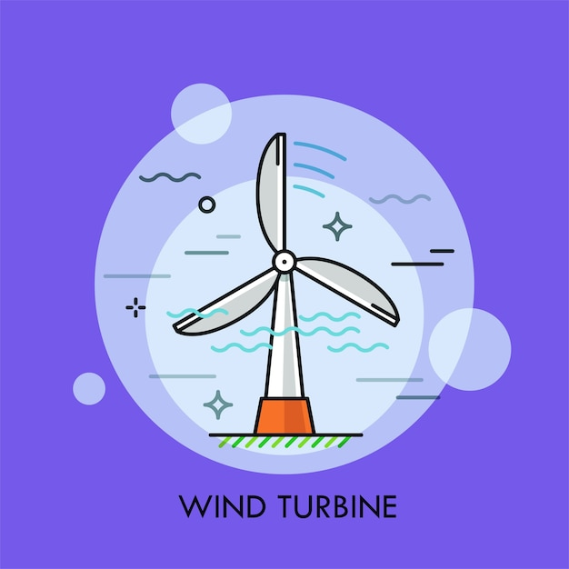 Turbina eolica. concetto di elettricità o generazione di energia elettrica Vettore Premium