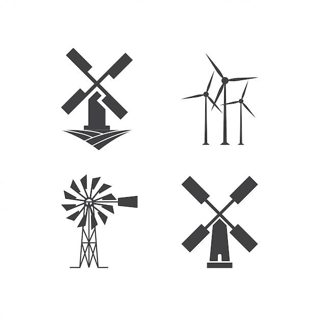 Modello di progettazione logo windmill Vettore Premium