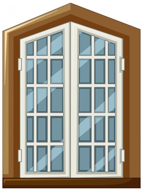 Design della finestra con cornice in legno Vettore Premium