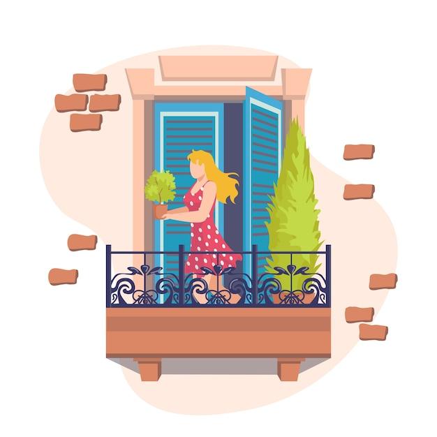 La finestra con la ragazza sul balcone si prende cura delle piante. vista esterna della facciata della casa con balcone e decorazioni. terrazza esterna su edificio in mattoni in città o paese. Vettore Premium