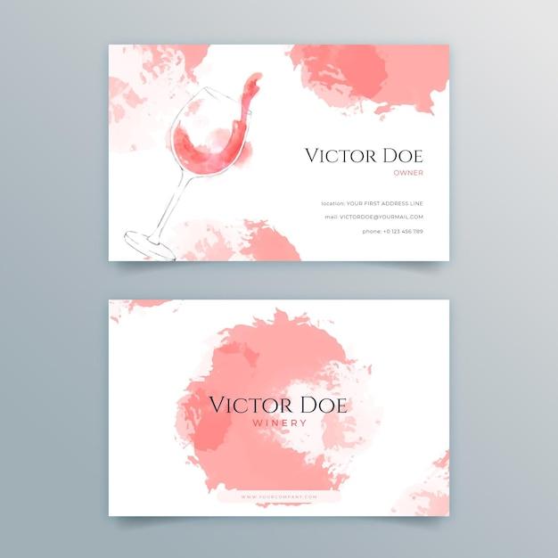 Set di biglietti da visita fronte-retro per vino Vettore Premium