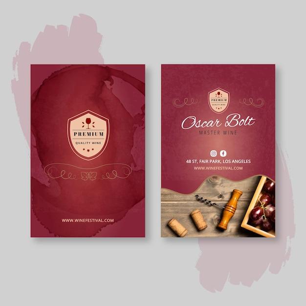 Biglietto da visita bifacciale vino Vettore Premium