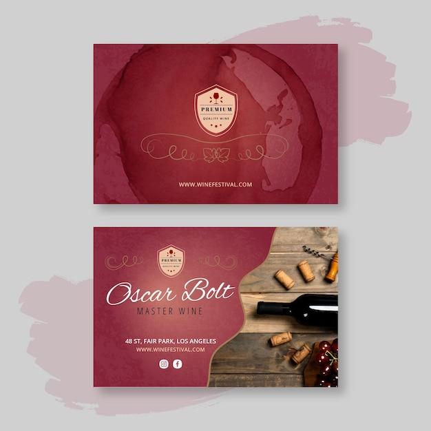 Biglietto da visita orizzontale bifacciale vino Vettore Premium