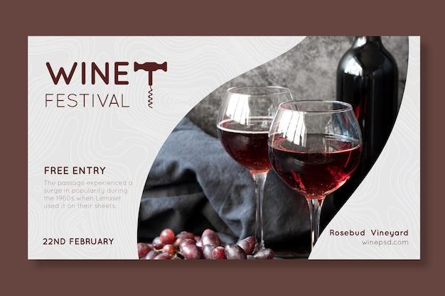 Modello di banner del festival del vino Vettore Premium